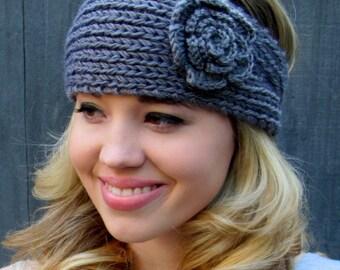 Knit Ear Warmer Flower Headband Thick Ear Warmer Winter HeadBand Muffler Handmade Head Wrap Gifts for her Button headband CHOOSE Your color
