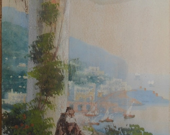 Vintage water color gouache Italy coast monk signed m.gianni