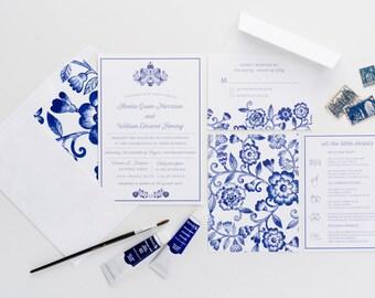 Blue Floral Wedding Invitations, Watercolor Blue Invitations, Blue and White Wedding Invitations, Wedding Announcements