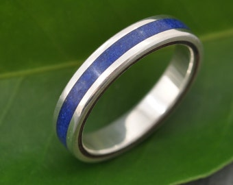 Lados Lapiz Azul Recycled Sterling Silver, Stone and Wood Ring, wooden wedding ring,