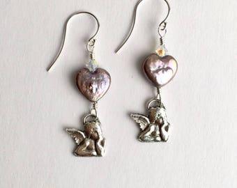 Raphael Angel Earrings with Grey Freshwater Pearl Hearts
