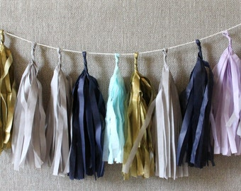 Tissue paper tassels garland /  Navy, gray, turquoise, gold and lavander