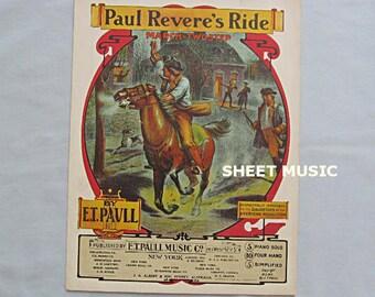 Sheet Music, 'Paul Revere's Ride', Patriotic March by E. T. Paull, 1905, Revolution, Horse, Alarm