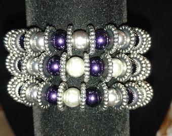 Purple and silver wrap bracelet