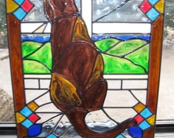 Cat in a window Stained glass window