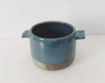 Blue Ceramic Planter with Wings, blue ceramic pot, pottery planter, wheel thrown wax gas fired planter with drain hole