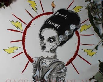 Bride Of Frankenstein 8.5x11 Fine Art Print