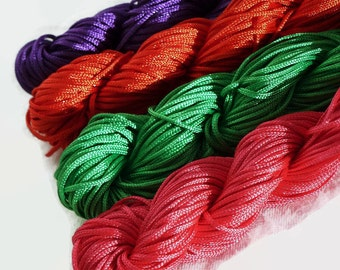 Nylon Shamballa Cord 1mm / Chinese Knotting Cord Various Colours Purple Red Pink Green