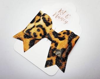 HANDMADE // Glitter Leopard Print Bow // Animal Print Bow // Large Bow // Hair Bows // Girls Bows // Hair Accessories // Rockabilly // Retro
