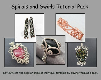 Spirals and Swirls Tutorial Pack - Wire Jewelry Tutorials - Save 30%