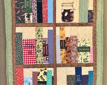 """Book Shelves Embroidered and Pieced Quilted Wall Hanging 26"""" x 36"""""""