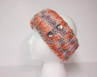 Ear Warmer, Button Ear Warmers, Crocheted Ear Warmer, Orange Ear Warmer, Womans Ear Warmers, Winter Headband, Ear Warmer for Women