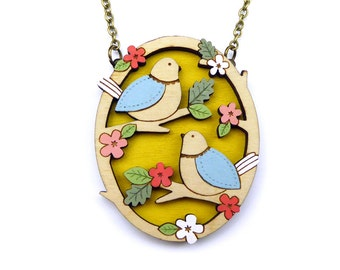 Two little birds necklace ~ hand painted laser cut necklace