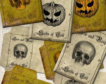 Halloween Seed Packets Printable instant download digital collage sheet - VDENHA0861