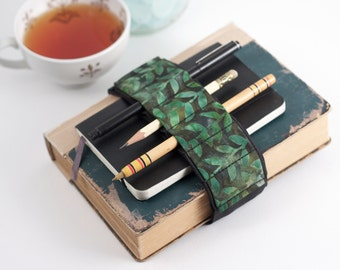 Adjustable Bandolier // batik vines // (a better pencil case, journal pen holder, book strap, pen loop, pencil roll, pen bandolier)