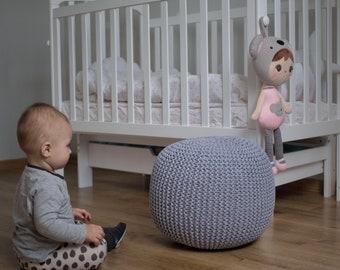 Pouf ottoman gray for baby | Crochet pouf Ottoman Floor cushion Pouf Footstool Floor pillow Nursery decor Kids room decor Bedroom decor