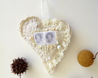 SALE Netherland heart ornament, fiber art cottage chic, bead embroidery featured in Sew Somerset Magazine, home decor, hand stitched