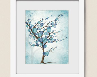 Aqua Blue Room Wall Decor Tree Wall Art Print 8 x 10, Peaceful Art for Home or Office, Turquoise Blue (335)