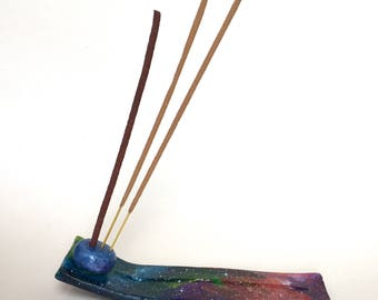 Cosmic themed incense holder. Cosmic incense burner. Galactic painted incense stick holder