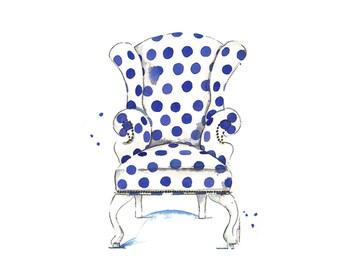 Blue Chair Art Print-Chair Print Home Decor Art Print Wall Art Office Decor Chair Wall Decor Chair