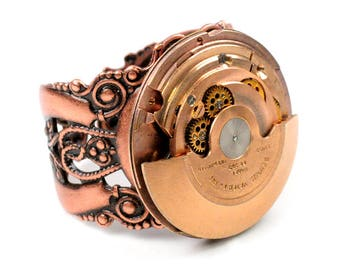 Steampunk Vintage Rose Gold Swivel Mechanism Benrus Watch Movement Adjustable Ring