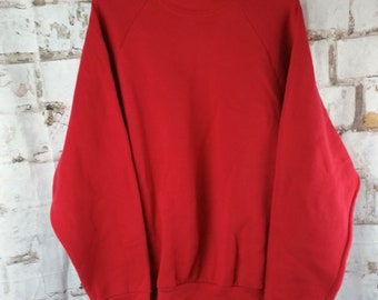 Vintage 90s Crew Neck Raglan Sleeve Sweatshirt- Size XL- Made in the USA-Fruit of the Loom Maroon/Cranberry