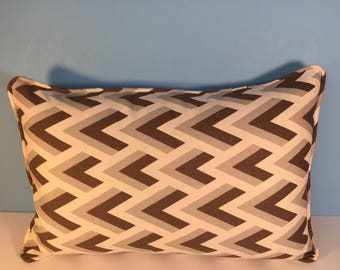 "20x13"" Decorative Geometric Pillow Corded Cover - Brown and Gray Chevron 20x13"