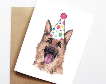 Birthday Card - German Shepherd, Dog Birthday Card, Cute Birthday Card, Dog Card, Bday Card, Kids Birthday Card, Friend Birthday Card