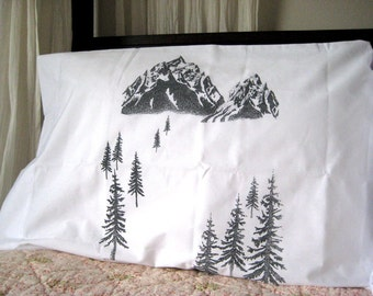 Screen Printed Pillowcases - Handmade Pillow Covers (set of 2 standard) - Eco Friendly Bedding - Hand Printed Sham - Woodland