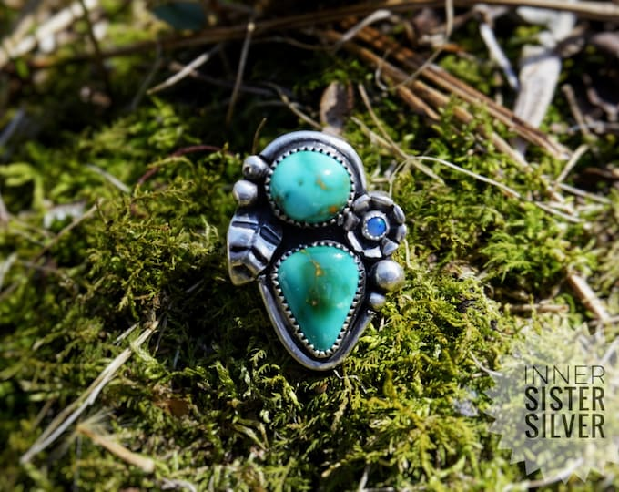 Royston Turquoise Double stone, Double Band with Opals, Flower and Leaf SIlver, Turquoise Sterling Silver Ring