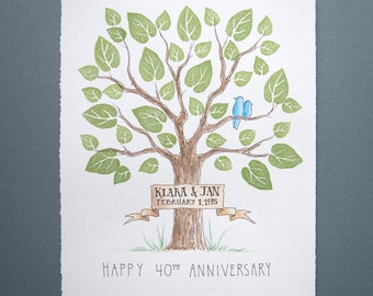 Wedding ANNIVERSARY Tree Guest Book Family Tree Original Watercolor Painting with PRESTAMPED LEAVES