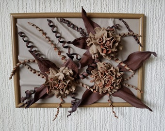 3D Leather flowers Wall Framed Picture