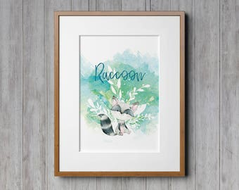 Raccoon, Raccoon Print, Nursery Decor, Kids Room, Childrens Art, Forest Animals, Watercolor Animals, Woodland Creatures, Woodland Animals