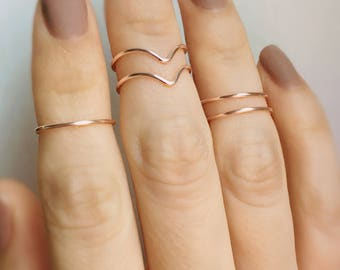 Rose Gold Midi rings, 5 Knuckle rings, Chevron Rings, Stacking rings, Rose gold ring, Midi rings, Knuckle ring set, Stackable rings, Gold