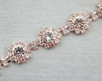 Rose Gold Rhinestone Trim by the yard, bridal trim, luxury rhinestone banding, rhinestone metal trim, rose gold Applique/M024