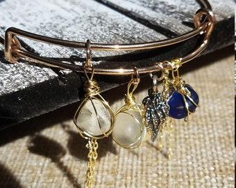 Wire Wrapped Beach Sea Glass Gold Plated Bangle Bracelet Ocean Shell Boho