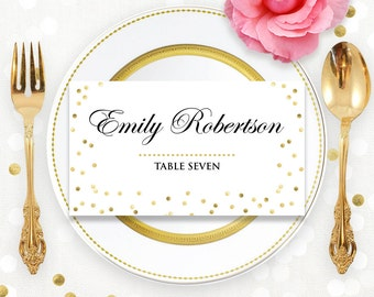 gold pink place card printable wedding instant download diy
