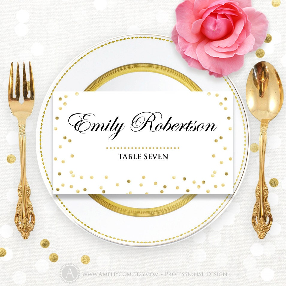 Glam Gold Place Card Wedding Instant Download DIY EDITABLE - Wedding place card templates free download