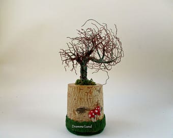 Windswept  Willow ~ Tree Sculpture With Toadstool (Decorative OOAK Halloween Autumn Tree Sculpture)