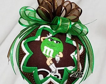 Ms Green M & Ms Ornament, Green M and Ms Quilted Ornament, Christmas Ornament, Valentine Ornament