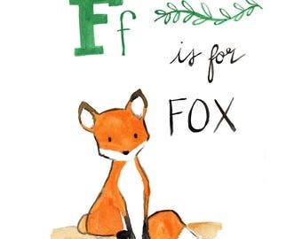 INSTANT DOWNLOAD, Watercolor Fox Printable, Fox Art Print, Fox Nursery Decor, Woodland Art, Watercolor Animal Art Print, F is for Fox