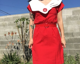 80s Large Collar Red Dress