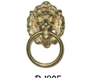 Drawer Pull -  Early American Style Lion Head Single Post Ring Pull