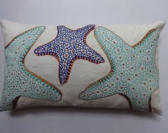starfish pillow in aqua blue  cobalt and orange  pillow   coastal pillow. nautical pillow. custom made beach decor. 12x 16 to 12x22 inches.