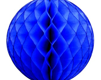 Dark Blue Tissue Paper Honeycomb Ball Party Decoration for Superhero or Circus Themed Birthday Venue Decor