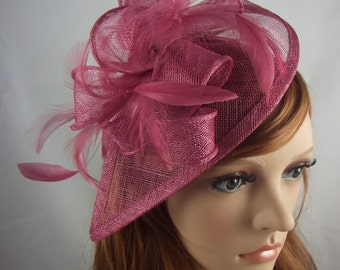 Wine Pink Teardrop Sinamay Fascinator with Feathers - Wedding Races Special Occasion Hat