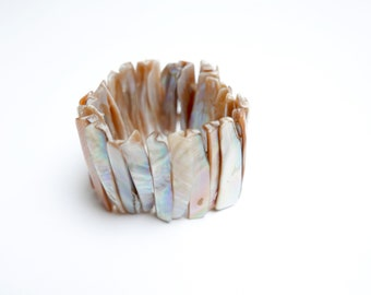 Vintage bracelet from natural mother of pearl, nacre jewellery, 1980's
