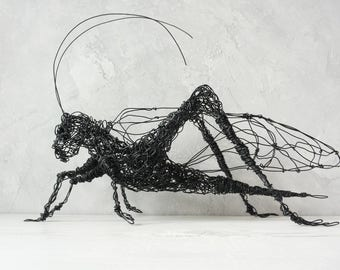 Wire sculpture, Grasshopper, Father's Day gift, Birthday gift, Office decor, Home Decor, Stand art, Wire grasshopper, Floor, Steampunk decor