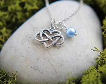 Bridesmaid Necklace, Bridesmaid Gift, Wedding Gift, Infinity Necklace, Sterling Silver Infinity Necklace, Infinity Love, Heart Necklace