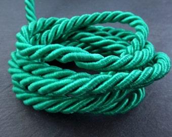 Teal Green 7mm Twisted Rayon Satin Rope Silk Braid Cord - 3 Ply Twist - 1 meters - 1.09 Yards